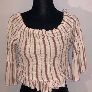 Free People Medium Cream Stripped Crop Top